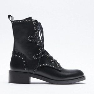 🔥MOVING SALE🔥NEW ZARA STUDDED LEATHER BOOTS 6